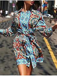 cheap -Women's Midi Dress Shirt Dress - Long Sleeve Tribal Print Spring & Summer Shirt Collar Going out Blue S M L XL