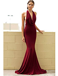 cheap -Mermaid / Trumpet V Neck Sweep / Brush Train Polyester Sexy / Red Engagement / Formal Evening Dress with Draping 2020