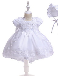cheap -Princess Asymmetrical First Communion Christening Gowns - POLY Sleeveless Jewel Neck with Lace / Bow(s) / Appliques