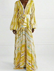 cheap -Sheath / Column Yellow Boho Holiday Prom Dress V Neck Long Sleeve Floor Length Chiffon with Pattern / Print 2020