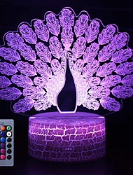 cheap -Peacock 16 Color Changing Night Lamp 3D Atmosphere Bulbing Light 3D Visual Illusion LED Lamp for Kids Toy Christmas Birthday Gifts (Peacock)