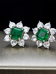 cheap -3 carat Synthetic Emerald Earrings Alloy For Women's Emerald cut Antique Luxury Bridal Wedding Party Evening Formal High Quality Big 1 Pair