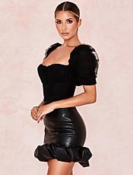 Недорогие -Жен. Облегающий силуэт Подол Однотонный Черный S M L
