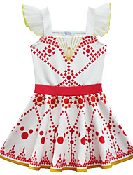 cheap -Kids Girls' Active Cute Polka Dot Geometric Ruffle Sleeveless Knee-length Dress Yellow