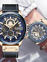 cheap -Men's Dress Watch Analog Quartz Stylish Calendar / date / day Chronograph Three Time Zones / One Year / Genuine Leather / Japanese