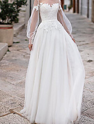 cheap -A-Line Wedding Dresses Jewel Neck Floor Length Lace Tulle Long Sleeve Country Plus Size Illusion Sleeve with Lace Appliques 2020