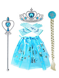 cheap -Princess Elsa Skirt Gloves Outfits Girls' Movie Cosplay Halloween Blue Skirts Gloves Crown Children's Day Masquerade Rhinestone Fabric Plastic / Wand / Wig / Wand / Wig