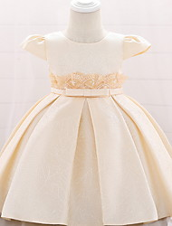 cheap -Ball Gown Floor Length Birthday / Event / Party Christening Gowns - Lace / Mikado Short Sleeve Jewel Neck with Bow(s)