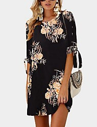 cheap -Women's Black Dress Shift Floral S M