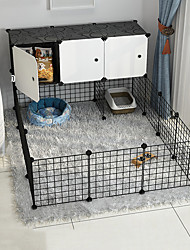 cheap -Dog Playpen Play House Fence Systems Foldable Washable Durable Free Standing Plastic Metal Black 31pcs