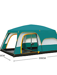cheap -5 person Cabin Tent Family Tent Outdoor Windproof Rain Waterproof UPF50+ Double Layered Poled Camping Tent Three Rooms >3000 mm for Camping / Hiking / Caving Oxford Cloth 330*210*185 cm