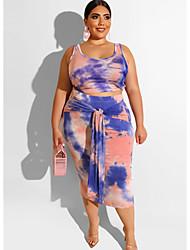 cheap -Women's Two Piece Dress - Sleeveless Print U Neck Slim Blue Blushing Pink Orange XL XXL XXXL XXXXL