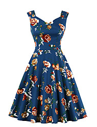 cheap -Women's A Line Dress - Sleeveless Print V Neck Blue S M L XL XXL XXXL XXXXL
