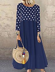 お買い得  -女性用 ルーズ ドレス - 長袖 波点 ルーズ ブラック ルビーレッド イエロー ネービーブルー S M L XL XXL