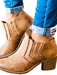 cheap -Women's Boots Chunky Heel Round Toe PU Booties / Ankle Boots Fall & Winter Brown / Black / Gray