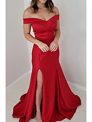 cheap -Mermaid / Trumpet Minimalist Engagement Prom Dress Off Shoulder Short Sleeve Sweep / Brush Train Satin with Split 2020