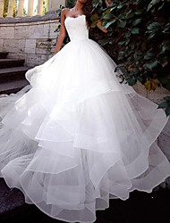cheap -Ball Gown Wedding Dresses Strapless Sweep / Brush Train Tulle Sleeveless Country Plus Size with Cascading Ruffles 2020