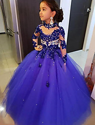 cheap -Ball Gown Floor Length Event / Party Flower Girl Dresses - Tulle 3/4 Length Sleeve Illusion Neck with Solid / Crystals / Rhinestones