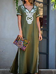 cheap -Women's Maxi Shift Dress - Short Sleeves Floral Sequins Tassel Fringe V Neck Loose Army Green Navy Blue One-Size