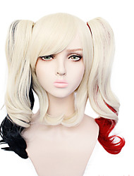 cheap -Harley Quinn Cosplay Wigs Women's With 2 Ponytails 12 inch Heat Resistant Fiber Curly Multi-color Adults' Anime Wig
