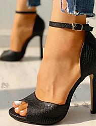 cheap -Women's Sandals Stiletto Heel Peep Toe PU Classic Spring & Summer Red / White / Black