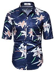 tanie -Męskie Geometric Shape Nadruk Koszula Hawajskie Codzienny Granatowy / Jasnoniebieski