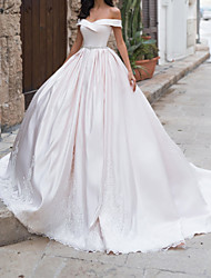 cheap -A-Line Wedding Dresses Off Shoulder Sweep / Brush Train Taffeta Chiffon Over Satin Short Sleeve Country Plus Size with Sashes / Ribbons 2020