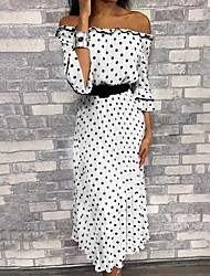 cheap -Women's Maxi White Dress A Line Polka Dot Off Shoulder S M