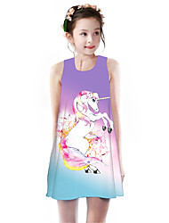 cheap -Kids Girls' Basic Cute Unicorn Rainbow Animal Cartoon Print Sleeveless Knee-length Dress Purple