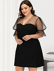 cheap -Women's Plus Size A Line Dress - Short Sleeves Solid Color Mesh V Neck Sexy Street chic Daily Going out Puff Sleeve Belt Not Included Black L XL XXL XXXL XXXXL / Little Black