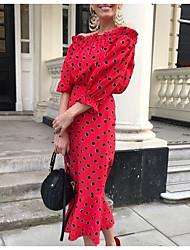 cheap -Women's Red Dress Spring Vacation Sheath Polka Dot Off Shoulder S M