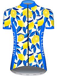 Недорогие -21Grams Жен. С короткими рукавами Велокофты Голубой + Желтый Лист Фрукты Лимонный Велоспорт Джерси Верхняя часть Горные велосипеды Шоссейные велосипеды Устойчивость к УФ Дышащий Быстровысыхающий