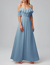 cheap -A-Line Spaghetti Strap Floor Length Chiffon Bridesmaid Dress with Pleats / Ruffles