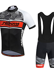 cheap -21Grams Men's Short Sleeve Cycling Jersey with Bib Shorts Silicon Polyester Black Purple Yellow Bike Shorts Bib Shorts Jersey Breathable 3D Pad Quick Dry Reflective Strips Sweat-wicking Sports