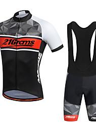 cheap -21Grams Men's Short Sleeve Cycling Jersey with Bib Shorts Black Purple Yellow Bike Shorts Breathable Quick Dry Sports Geometry Mountain Bike MTB Road Bike Cycling Clothing Apparel / Stretchy