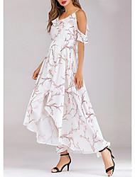 cheap -Women's Asymmetrical White Dress Sheath Swing Print Strap S M