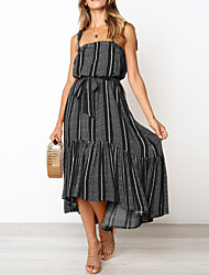 cheap -Women's Loose Dress - Sleeveless Striped Print Patchwork Print Spring & Summer Strap Basic Boho Daily Going out Black Red Yellow S M L XL