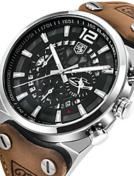 cheap -BENYAR Men's Dress Watch Quartz Formal Style Stylish Luxury Water Resistant / Waterproof Analog Silver+Orange Black / Yellow Black / Silver / Genuine Leather / Hollow Engraving / Three Time Zones