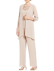 cheap -Pantsuit / Jumpsuit Mother of the Bride Dress Elegant Sweet Illusion Neck Floor Length Chiffon 3/4 Length Sleeve with Lace Appliques 2020