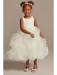cheap -Ball Gown Ankle Length Wedding Flower Girl Dresses - Tulle Sleeveless Jewel Neck with Tier / Solid