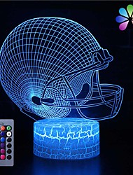 cheap -3D Football Cap Night Light Touch 16 Color Change with Remote Control Children's Toy USB Lamp LED Desk Lamp Home Decoration Gift for Boys & Girls
