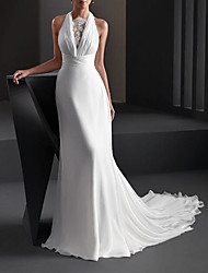 cheap -A-Line Wedding Dresses Halter Neck Sweep / Brush Train Chiffon Sleeveless Country Plus Size with Lace 2020