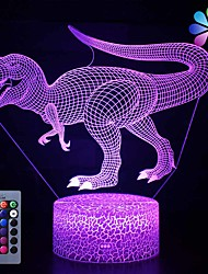 cheap -Dinosaur Toys Night Light - 3D Night Lamp with Three Patterns & Remote Control & Smart Touch16 Colors Changing Dimmable Brithday Gifts for 2 3 4 5 6 7 8 Year Old Boys Girls Dinosaur Fans
