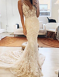 cheap -Mermaid / Trumpet Wedding Dresses V Neck Sweep / Brush Train Polyester Sleeveless Country Plus Size with Embroidery Appliques 2020