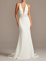 cheap -Mermaid / Trumpet Wedding Dresses Halter Neck Plunging Neck Sweep / Brush Train Polyester Sleeveless Country Plus Size with Beading 2020