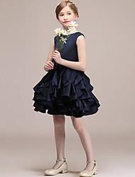 cheap -A-Line Round Short / Mini Satin Junior Bridesmaid Dress with Tier / Cascading Ruffles
