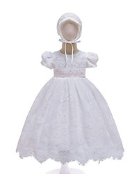 cheap -Princess Floor Length First Communion Christening Gowns - POLY Short Sleeve Jewel Neck with Lace / Appliques