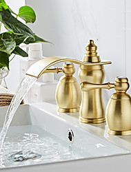 cheap -Bathroom Sink Faucet - Waterfall Painted Finishes Widespread Two Handles Three HolesBath Taps