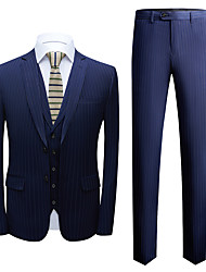 cheap -Tuxedos Tailored Fit Notch Single Breasted Two-buttons Polyester Stripes / British / Fashion