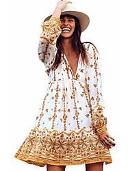 cheap -Women's Yellow Dress Sheath Print S M